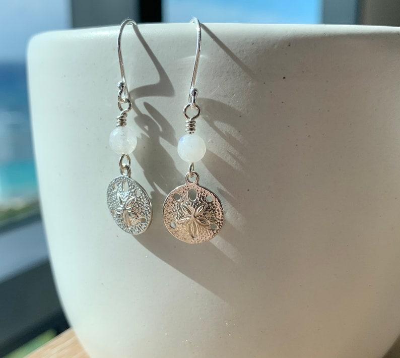 pretty beachy Hawaiian earrings gift unique handmade Hawaiian jewelry Gorgeous sterling silver sand dollar and moonstone gemstone earrings