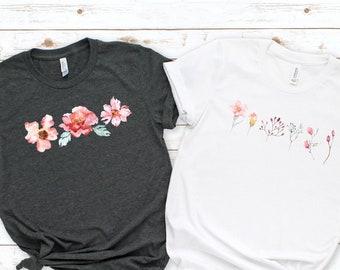 Watercolor Flowers Shirt,  Blossoms Shirt, Floral Shirt, Nature Shirt, Spring Shirt, Flower Shirt, Garden Shirt, Boho Flower Shirt