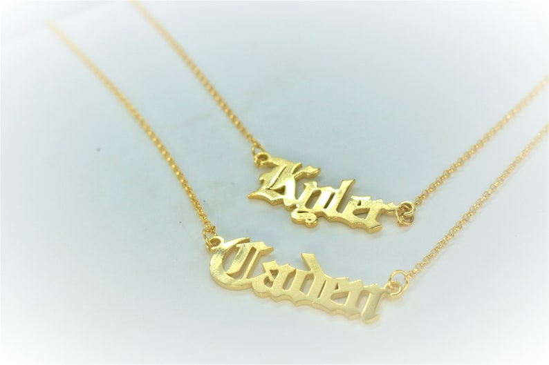 Gold Children Names Necklace Pet Memorial Necklace Two Name Necklace NN05 Family Necklace New Mom Gift Custom Name Necklace