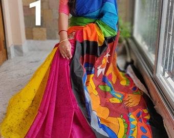 Hand painted Pure Kerala Cotton Saree featuring the divine power Goddess Durga