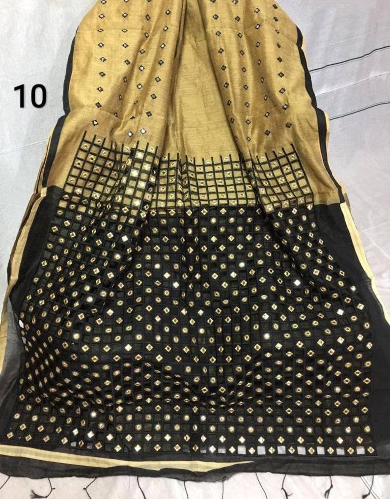 Khadi Silk Cut Work Saree Handloom Soft Silk Sari with Contrast Blouse Piece.
