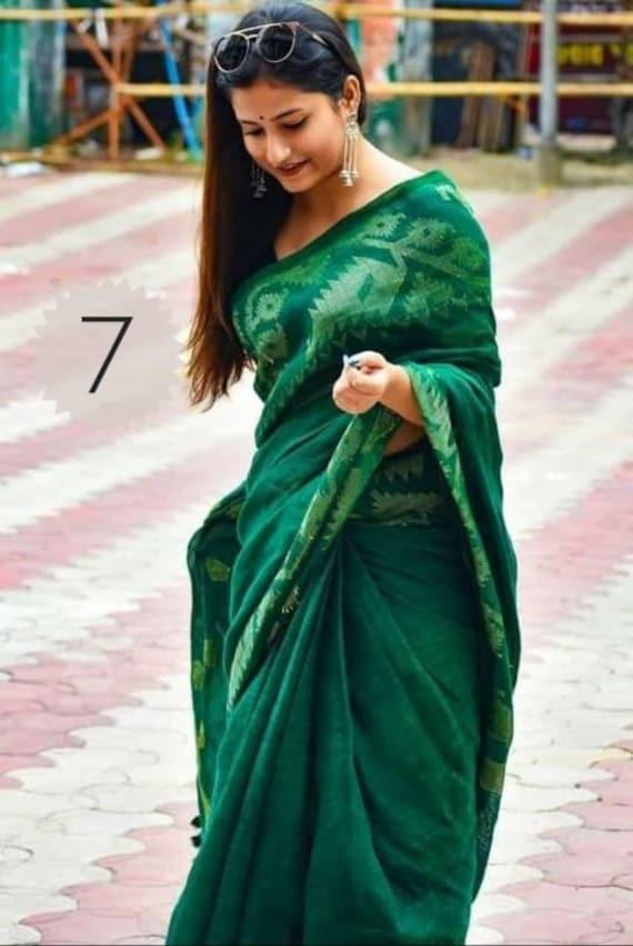 Pure Linen Jamdani Saree Linen By Linen Sari Pure Handloom Sari for Festive Wedding Sari Women Clothing Indian Sari Gifts Bridesmaid Fabric