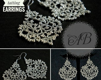 Tatted pattern for creating laced earrings, the turrorial for tatting maker , the diagram of sequence and numbers of knots