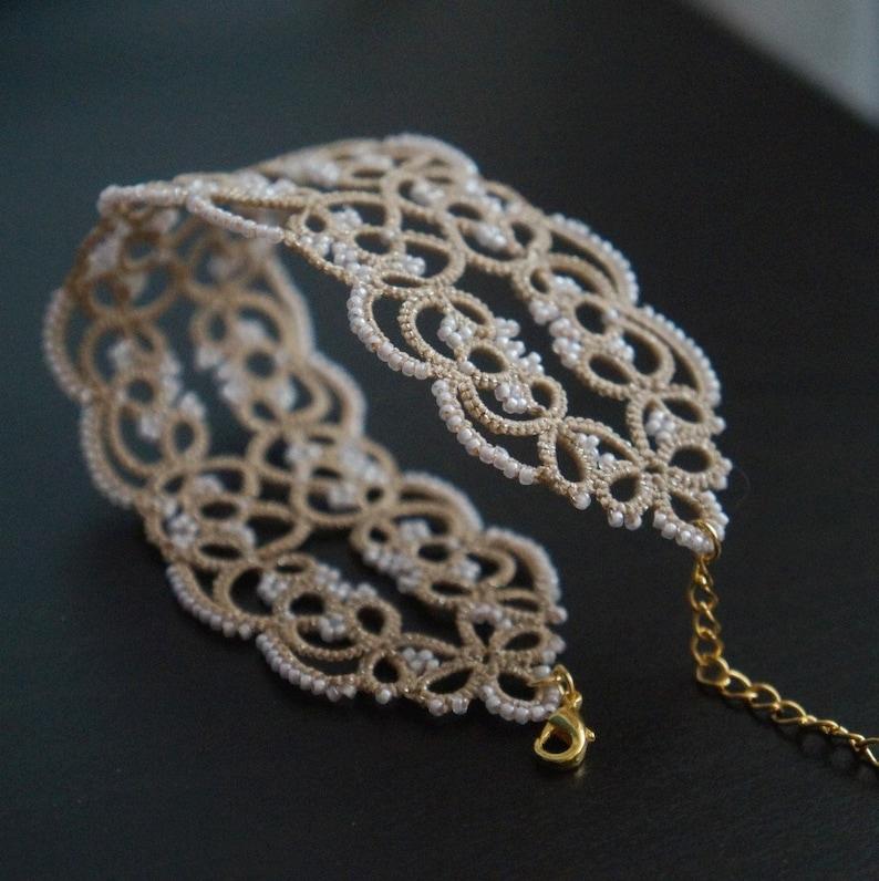 tatted lace handmade bracelet cuff laced bangle Wide beaded beige bracelet