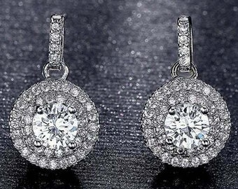 0.4ct Brilliant Round Cut Solitaire Highest Quality Moissanite Unisex Anniversary Gift Leverback Drop Dangle Earrings Real Solid 14k White Gold