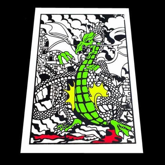 Dragon Velvet Art Fuzzy Felt  Large 50cm x 35cm Kids Colouring Fun