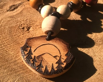 Shamanic Necklace with Wooden Vision Quest Pendant – Natural Handmade Ethnic Jewelery – Hand-sculpted Wood Art – Wood Burning