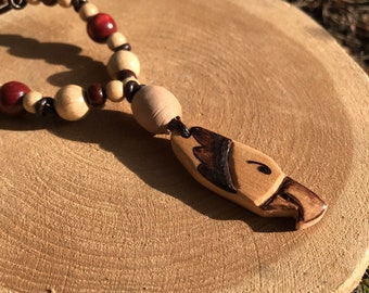 Totemic Necklace with Wooden Eagle Pendant – Natural Handmade Ethnic Jewelery – Hand-sculpted Wood Art – Wood Burning – Shamanic Art