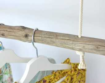 Clothes rail made of old wood | hanging rustic clothes rack as ceiling mounting