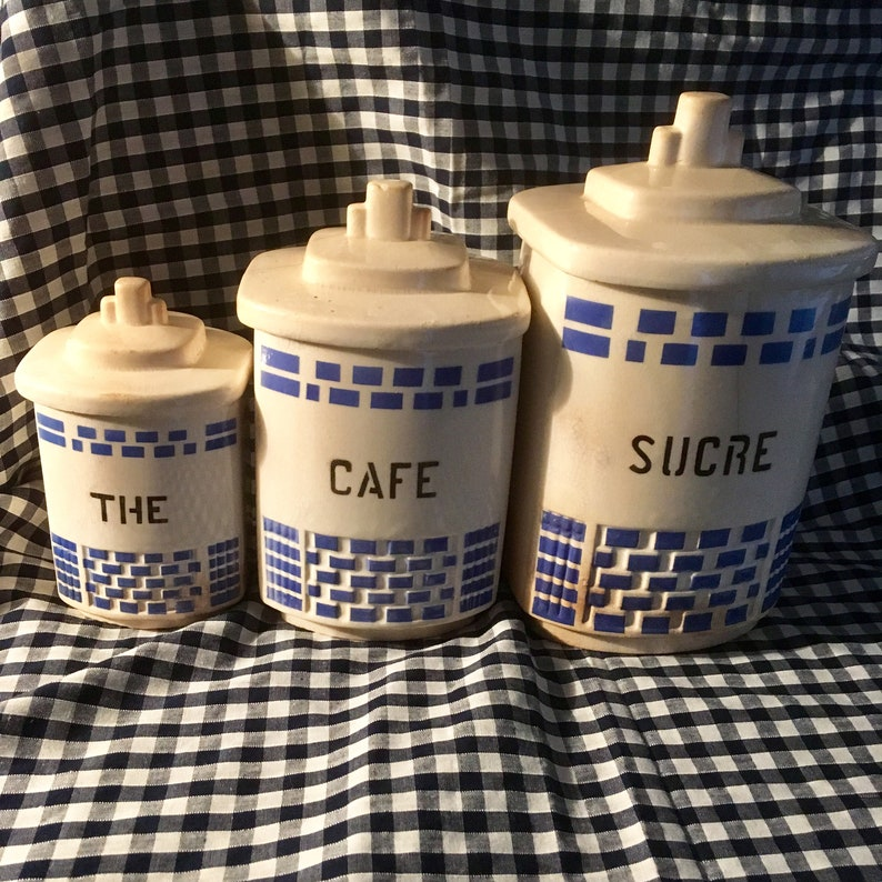 French Art Deco Ceramic Kitchen Canisters Coffee Tea Sugar