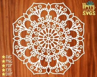 Flower Mandala SVG, Scrapbook Background Cut File, Boho Clipart, Floral Vector File, Circular Mandala, Zentangle Doodle, Delicate PNG