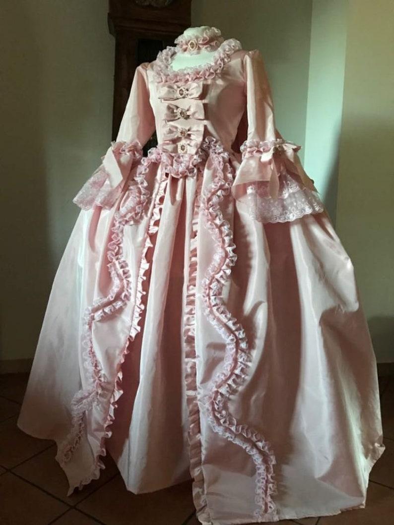 Masquerade Ball Clothing: Masks, Gowns, Tuxedos Custom Marie Antoinette Dress Gown Rococo Baroque Masquerade Venice Carnival Robe Pink Halloween robe la francaise lolita $880.00 AT vintagedancer.com