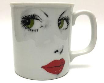 Vintage Face Mug, Woman's Face Mug, Red Lips Mug Japan, Vintage Japan Mug