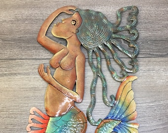 Haitian Metal Wall Art, Mermaid Oil Drum Wall Art,  17.5 inches Tall, Signed Jhonson Augustin