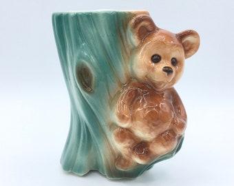 Vintage Royal Copley Vase, Vintage Bear Vase, Royal Copley Bear Vase Planter, Vintage Bear Vase, Teddy Bear Vase,  1940s Bear Planter