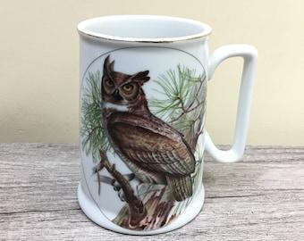 Large Vintage Coffee Mug, Vintage Owl Mug, Japan Horned Owl Porcelain Mug with Gold Rim, Vintage Beer Stein Coffee Mug