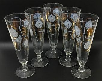 Vintage Pilsner Glasses, Gold and White Leaf Tall Pilsner Glasses, Vintage Stemware, Champagne Flutes Set of 5