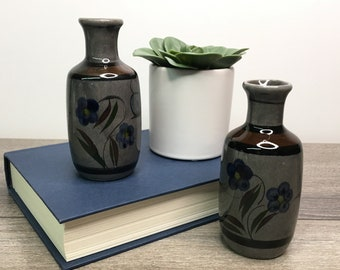 Pair of Small Tonala Pottery Vases, Mexican Pottery Vase, Set of 2