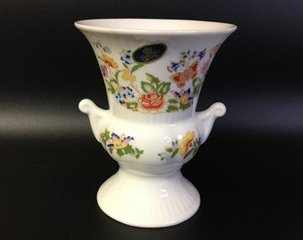 Vintage Ansley Vase, Cottage Garden, Bone China Pedestal Vase with Handles, Bone China Vase, Made in England