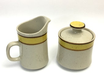 Vintage Japan Creamer and Sugar Set, Rainbow Stoneware Creamer and Sugar, Yellow and Brown, Speckled Stoneware.