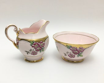 Vintage Cream and Sugar Set, Tuscan Fine Bone China, Pale Pink and Gold Porcelain, Made in England