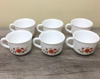 Six Arcopal Tea Cups Set, Vintage Arcopal France White Opaline Glass Coffee or Tea Cups, Arcopal Red Poppy