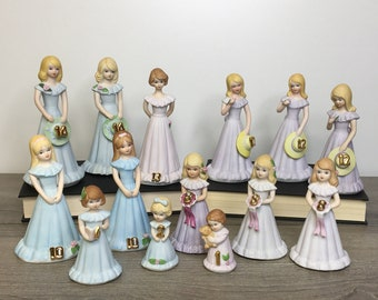 Vintage Enesco Growing Up Birthday Girls Figurines, Collectible Girl Birthday Gifts, Porcelain Bisque Figurines