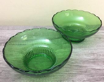 Vintage E.O. Brody Co Green Glass Bowl M2000, Scalloped Pedestal Candy Bowl USA