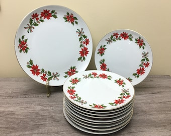 Vintage Christmas Dessert Plates Set, Holiday Holly and Poinsettia Cake Plates, Cookie Plate Set, Christmas Dinnerware
