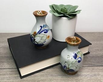 Small Tonala Pottery Vases, Mexican Pottery Vase, Mini Vases, Set of 2