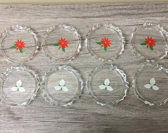 Vintage Christmas Coasters Set of 8, Holiday Glass Drink Coasters, Poinsettia and Trillium Beverage Coasters Barware