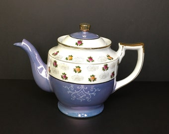 Vintage Purple Lustreware Teapot, Japan Porcelain Teapot, Hand Painted, Made in Japan by Takito Company