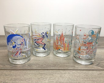 Set of 4 Vintage Large Walt Disney World Drinking Glasses, Remember the Magic 25th Anniversary, McDonalds Collectable Drinking Glasses