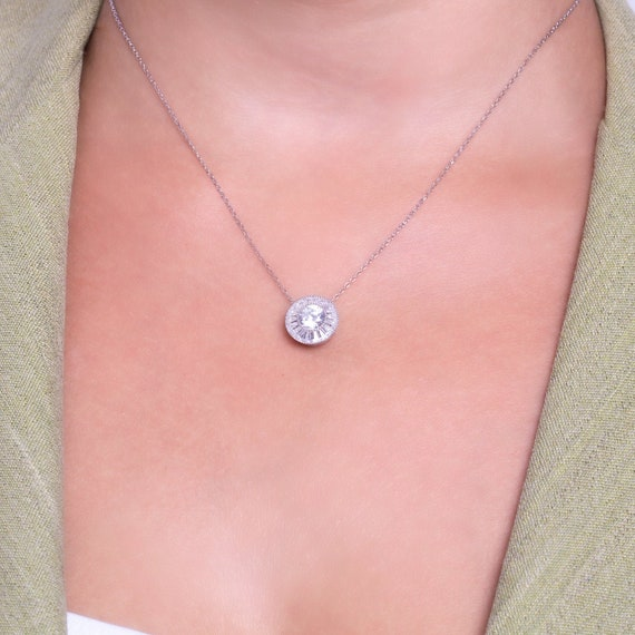 Baguette Necklace Baguette Jewelry Art Deco Necklace Baguette White Cz Sterling Silver Necklace 14K /& 18K Solid White Gold Necklace