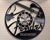Fender Guitar Vinyl Record Wall Clock Vintage LP Home Decor Birthday Valentines Day Wedding Christmas Gift For Men Women Music Lover Friends