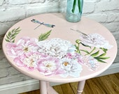 Pink Side Table Peonies
