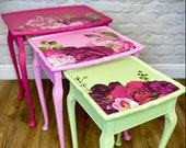 Pink & Green Floral Nest of Tables