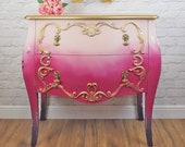 Sleeping Beauty Princess Style Pink & Gold Ombré Chest of Drawers