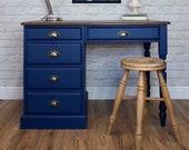 Solid Pine Blue Desk