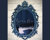 Ornate Mirror - Blue & Gold