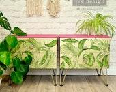 Pair MCM Bedside Tables - Fantastic Pink & Gold Statement