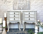 Pair of French Country Shabby Chic Bedside Tables