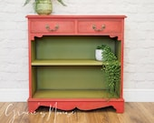 Vintage Red & Green Small Sideboard Bookcase Console Hallway