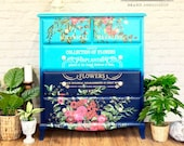 Turquoise & Navy Chest of Drawers