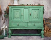 Green Oak Vintage Farmhouse Style Cabinet/Small Sideboard