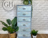 Vintage Blue Tallboy Chest of Drawers