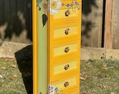 NOW SOLD - Rustic Quirky Yellow Mini Drawers/Storage