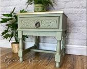 Green Oak Side Table Lamp Table Bedside Table