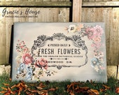 Large Rustic Vintage Fresh Flowers Sign