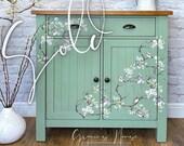 NOW SOLD - Green Oak Cupboard - Birds & Branches
